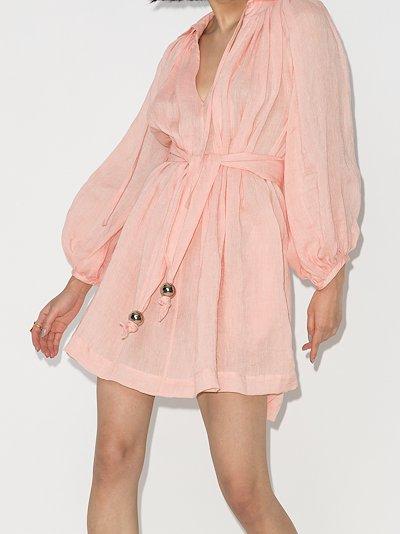 Poet belted linen mini dress