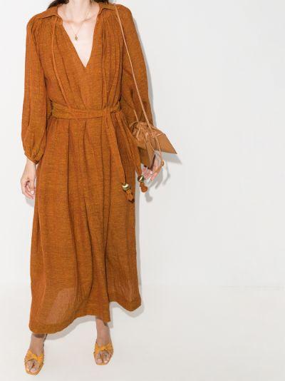 Poet belted organic linen maxi dress