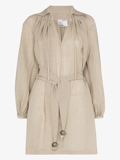 Poet belted organic linen mini dress
