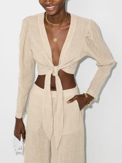 self-tie linen blouse