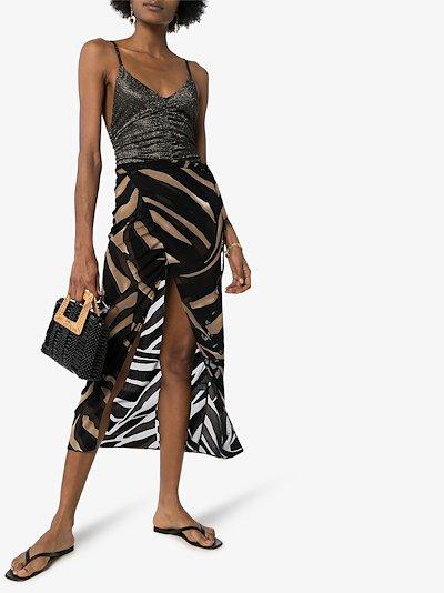 sheer print wrap skirt