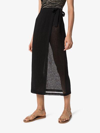 sheer wrap midi skirt