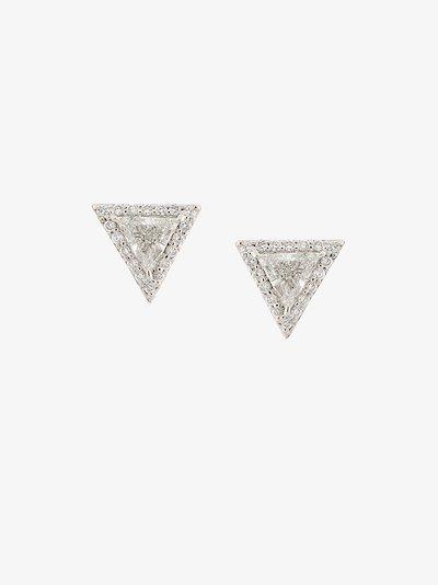 18K white gold Trillion diamond pavé stud earrings