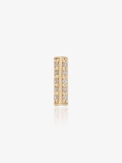 18K yellow gold and oblong diamond single stud