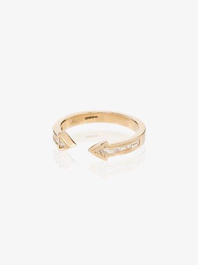18K yellow gold arrow diamond ring