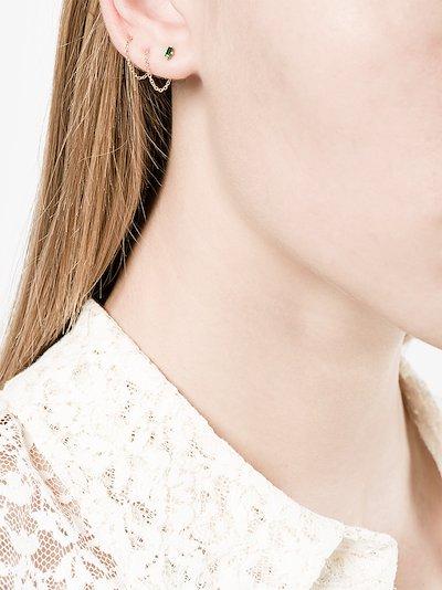 18K yellow gold Floating Thread emerald earrings