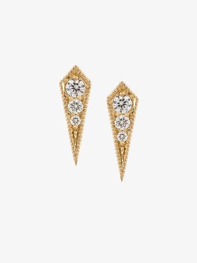 18K yellow gold Kite diamond stud earrings