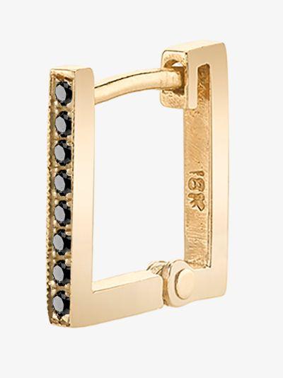 18K yellow gold petit square huggie diamond earring
