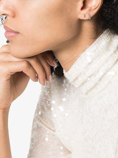 18K yellow gold white diamond stud earring