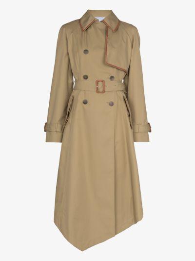 asymmetric cotton trench coat