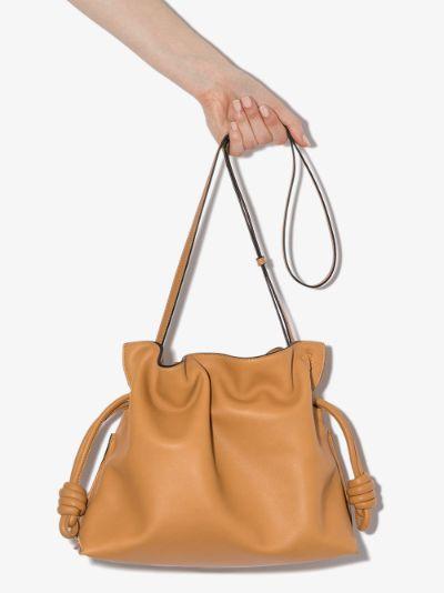 Beige Flamenco leather clutch bag