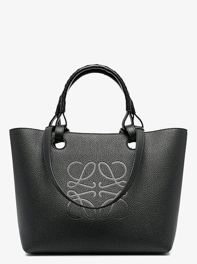 black Anagram leather tote bag