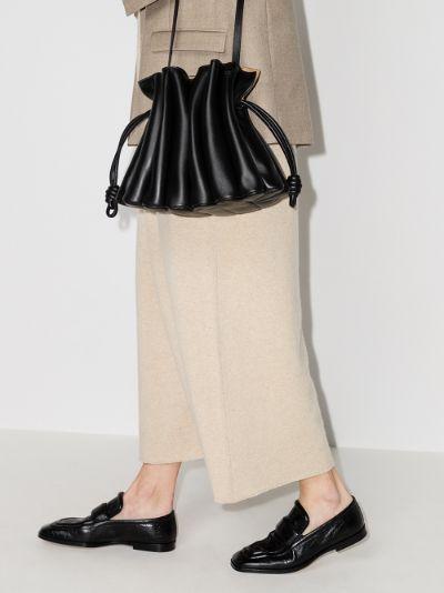 black flamenco ondas leather clutch bag