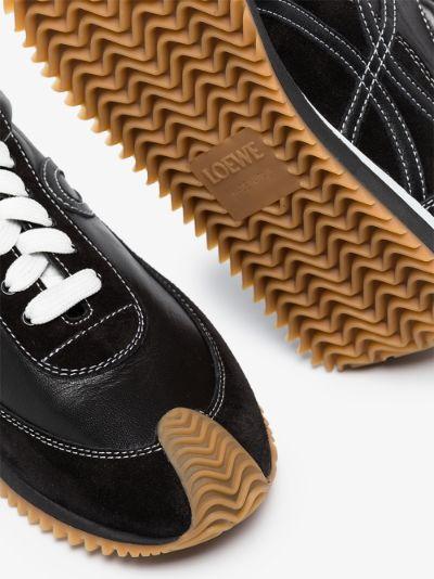 Black Flow runner leather sneakers