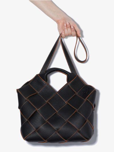 black woven leather basket tote bag