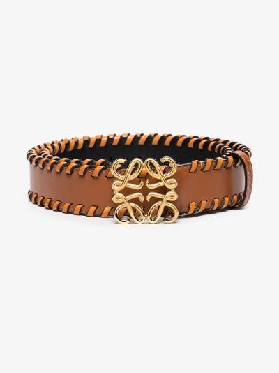 brown Anagram braided leather belt