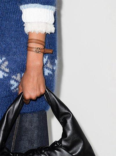 Brown Anagram leather wrap bracelet