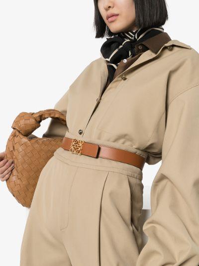 Brown Anagram logo leather belt