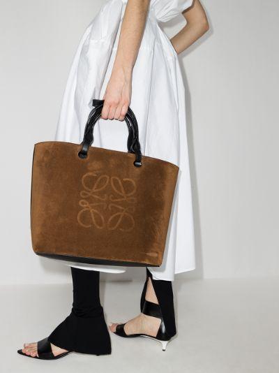 Brown Anagram Suede Tote Bag
