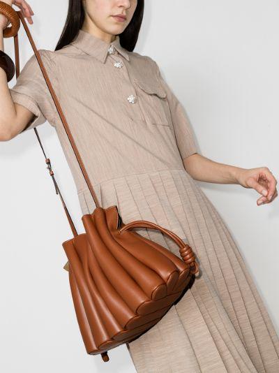 brown flamenco ondas leather clutch bag