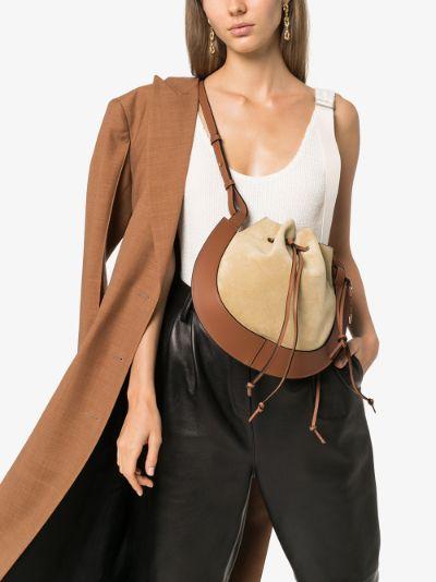 brown Horseshoe suede shoulder bag