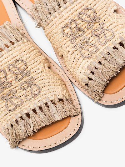 brown raffia logo sandals