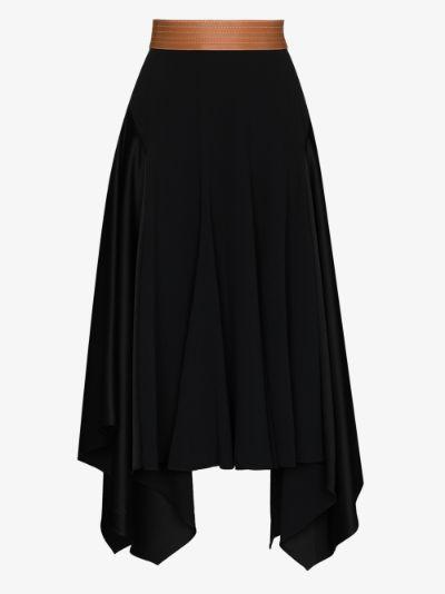 draped cotton midi skirt