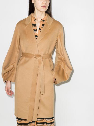 Gathered Sleeve Belted Coat