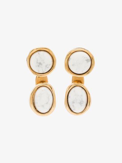 gold tone Double Tree marble earrings