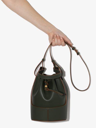 green Balloon leather bucket bag