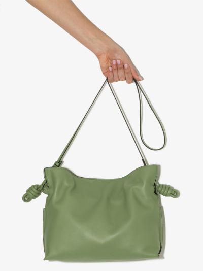 Green Flamenco Leather Clutch Bag