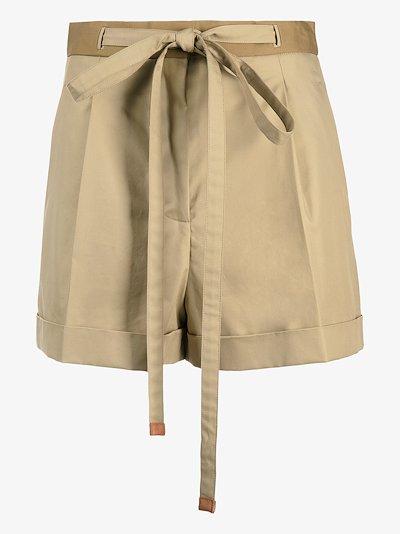 high waist belted shorts