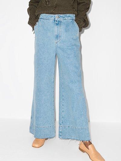 high waist logo flared jeans