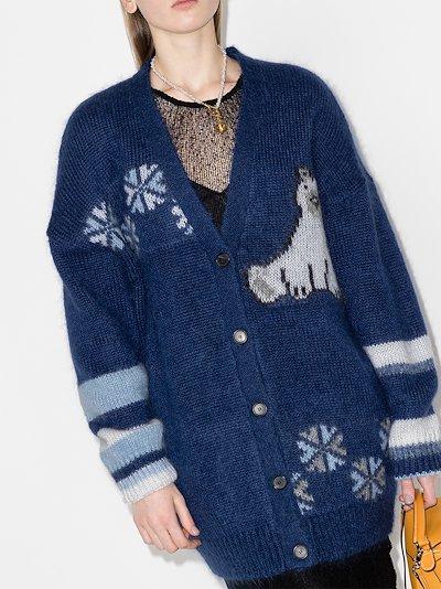 intarsia knit cardigan