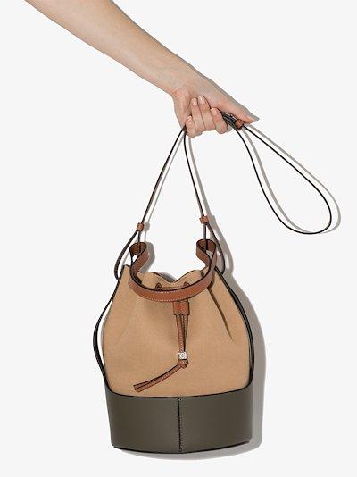 Neutral balloon canvas bucket bag