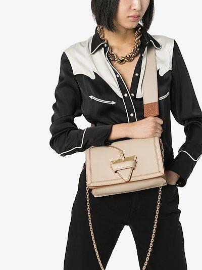 neutral Barcelona leather shoulder bag