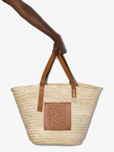 neutral large raffia basket bag
