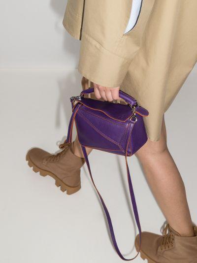 purple Puzzle mini leather shoulder bag