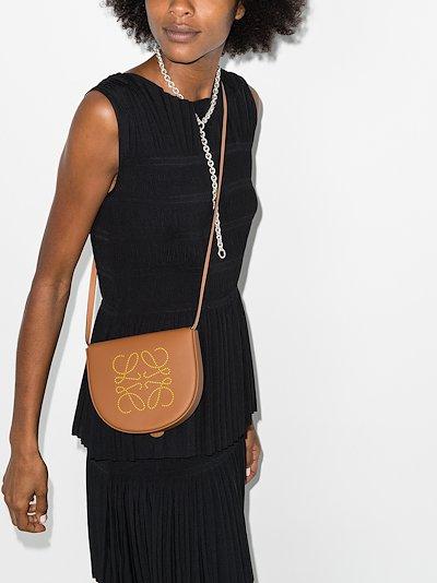 brown Heel mini leather shoulder bag