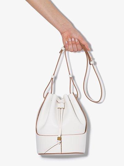 white Balloon leather bucket bag