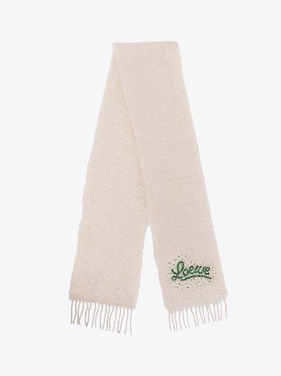 white beaded logo scarf