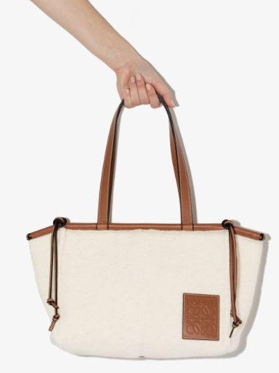 white Cushion wool tote bag