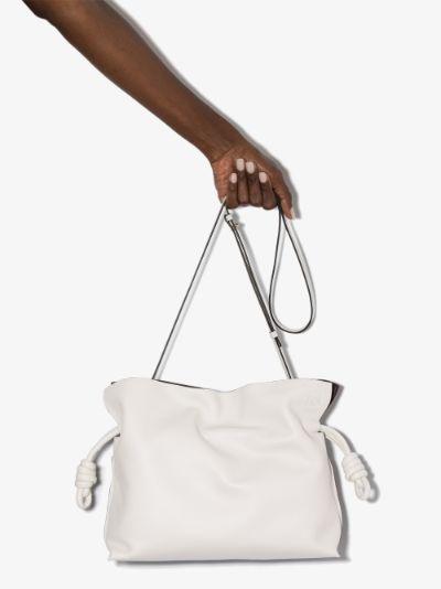 X Browns 50 white Flamenco leather clutch bag