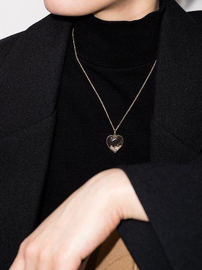 14K yellow gold large heart locket charm