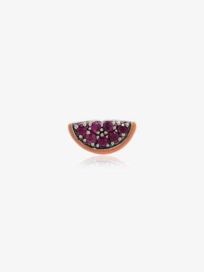 18K White Gold Tutti Frutti Ruby charm