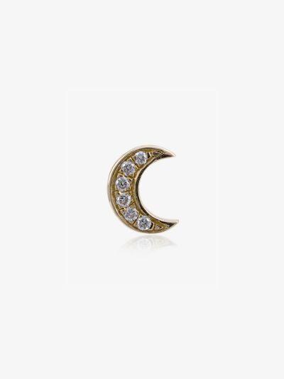 18K yellow gold diamond moon charm
