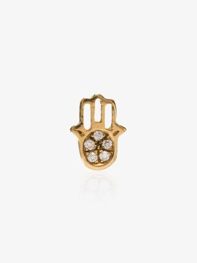 18K yellow gold Hand of Fatima diamond charm