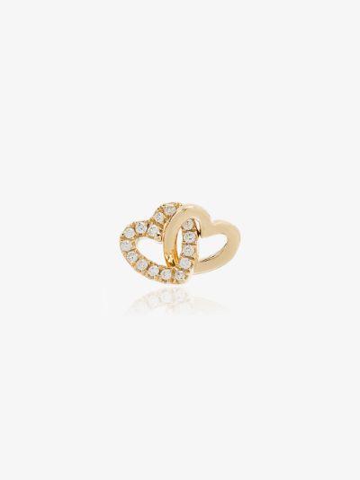 18K yellow gold Linked Hearts diamond charm