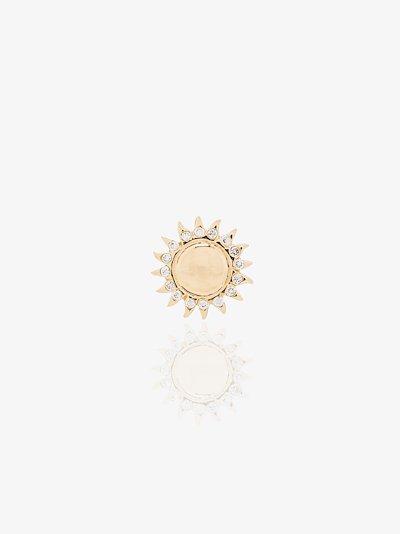 18K yellow gold sun diamond charm