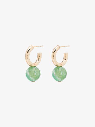 10K yellow gold agate hoop earrings